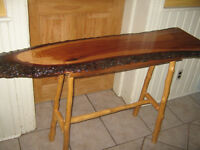 LIVING WOOD CONSOLE OR SOFA TABLE & OTHER ITEMS LISTED