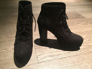 Divided Black High Heeled Booties
