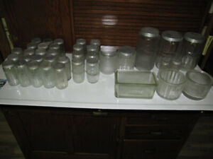 HOOSIER CABINET CUPBOARD JAR'S COFFEE TEA SALT SUGAR ETC