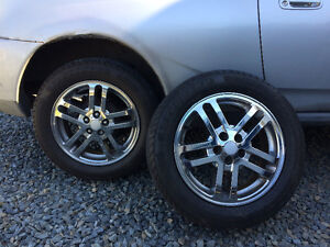 "16"" chrome rims with brand new tires"