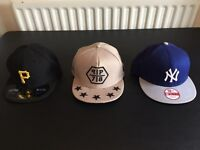 2 snap backs 1 fitted *mint condition*