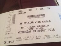 An Evening with Malala/ Glasgow SECC x4 tickets