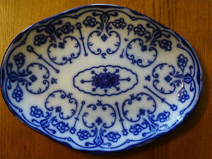 New Wharf Pottery Conway Serving Plate Platter Flow Blue 1800's