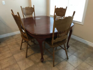 Table and 4 Chairs, Solid Wood