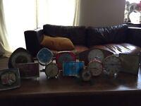 Job lot of 12 vintage/retro alarm clocks quirky display