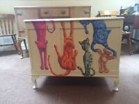 Vintage Hand painted Bedding Toy Box Storage Unit