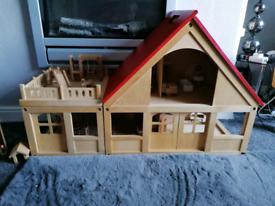 ELC wooden dolls house & furniture