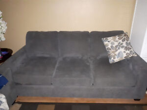 Blue pull out couch.