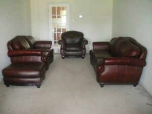 4 Pieces Prestige 100% Leather Sofa Set, Delivery Available