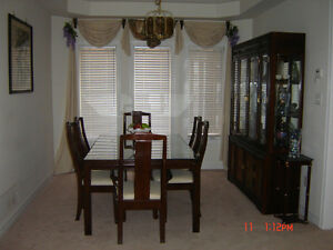 Dining room table, 6 chairs. Hutch, sidebar