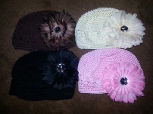 Infant girls hats with clip on flowers
