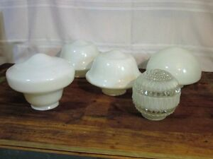 Antique 5 Globes Antique Milk Glass