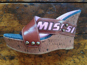 LIKE NEW Miss Sixty Cork and Brown Leather Wedges - Size 39