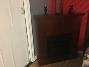 Cherry wood Electric Fireplace with Insert