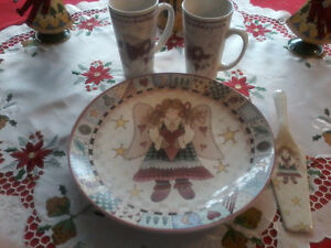 """Angel "" Ceramic  Cake Platter and Serving Spoon, 2 Angel Mugs"
