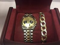 Rolex Tudor 18 karat sold d gold and stainless steel watch + White and yellow gold heavy bracelet