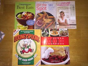 Assorted cookbooks (Oprah, Weight Watchers, etc)
