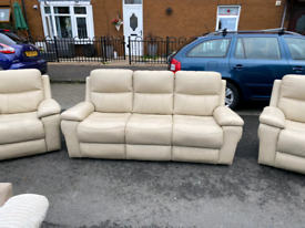 3+1+1 cream/grey reclining sofa