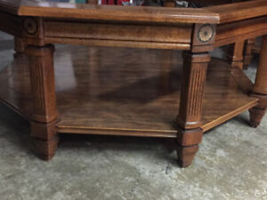 Mid Cent. Octagon Solid Wood w/Beveled Glass Coffee & End Tables