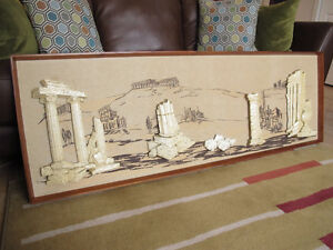 Mid-Century Chalkware Rome Ancient Ruins Wall Hanging Picture