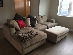 L Shaped Couch with Ottoman + Pillows