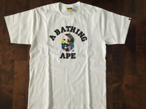 Bape Multi Camo College Tee White - Large