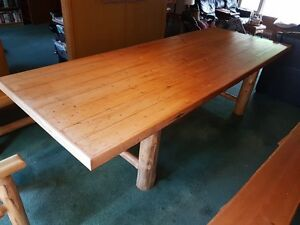 10' White Cedar Log Harvest Table with Benches and Chair