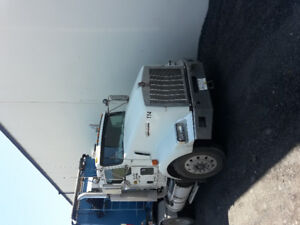 kenworth day cab tractor and end dump trailer