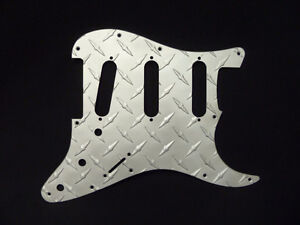Fender Strat guitar aluminum SSS pickguard brushed diamondplate