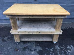Big Green Egg Wooden Cart - First reasonable offer takes it.