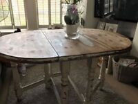 Rustic drop leaf shabby chic dining table