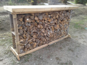 Dry firewood with rack