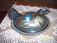Vintage 2 Pc Blue  Carnival Glass  Chicken on Nest Type Ornament