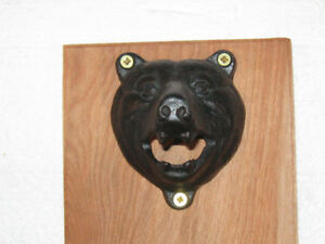 Bear Headed Beer Bottle Opener Wall Mount