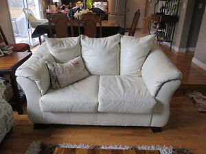 Ivory bonded leather Couch Set