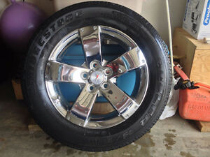 "4 - 5x115 17"" Chrome Five Spoke Wheels w/tires"