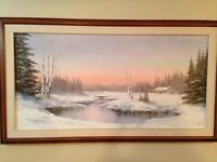 Winter scene. Framed painting by local artist.