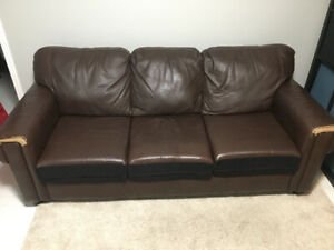 Bonded leather couch - some leather worn on cushions and ends