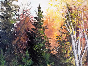 """Panoramic Countryside by E. Benninger """"Across the River"""" 1970's Stratford Kitchener Area image 4"""