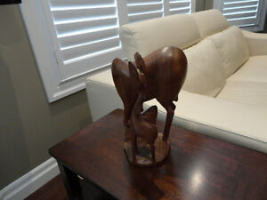 "Solid Hand Carved Wood Deer & Baby Fawn -A lovely 12"" tall Piece Kitchener / Waterloo Kitchener Area image 3"