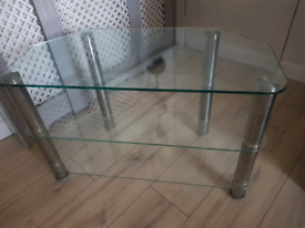 Glass and chrome 3 tier tv stand / shelving unit