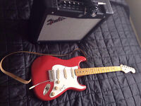 Fender Mustang II and Squier Stratocaster