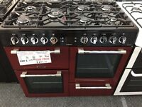 New Graded LEISURE Dual Fuel Range Cooker - Red/Black/Chrome