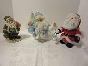 Green, Blue and Red Christmas Santa decorative pieces