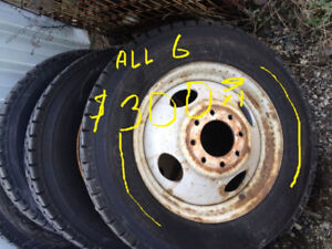 dually tires and wheels set of 6  chev ford dodge all for 300