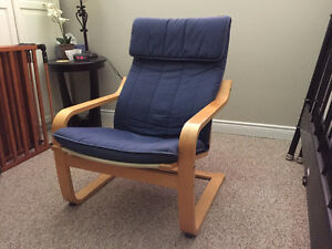 Birch Poang Chair with Blue Cover
