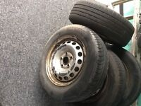 Volkswagen VW Caddy Steel Wheels and Tyres 195/65/15 with Centre Caps