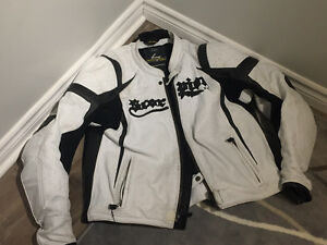 White leather Scorpion Motorcycle Riding Jacket