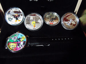 Set of 4 x 1 oz 2015 Looney Tunes™ Wrist Watch Silver Proof Coin London Ontario image 5