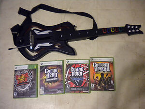 Xbox 360 Wireless Guitar and 4 Guitar Hero Games